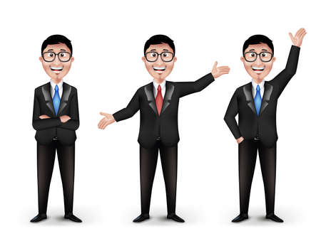 asian business people: Set of Realistic Smart Different Professional and Business Man Characters With Eyeglasses in Long Sleeve and Necktie Isolated in White Background. Editable Vector Illustration Illustration