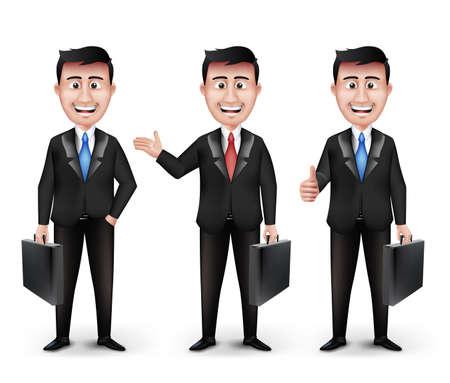 Set di realistici intelligenti diverse figure professionali e Business Man azienda valigetta in vestito nero a maniche lunghe e cravatta isolato in sfondo bianco. Illustrazione vettoriale modificabile
