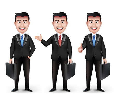 Set of Realistic Smart Different Professional and Business Man Characters Holding Briefcase in Black Suit Long Sleeve and Necktie Isolated in White Background. Editable Vector Illustration Illustration