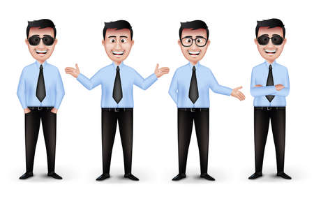 Set of Realistic Smart Different Professional and Business Man Characters in Blue Long Sleeve and Necktie with Eyewear Isolated in White Background. Editable Vector Illustration