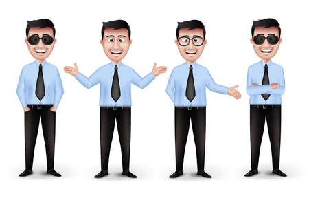 Set van realistische Smart Verschillende Professionele en Business Man Karakters in Blauw met lange mouwen en stropdas met Eyewear geïsoleerd in witte achtergrond. Bewerkbare vector illustratie