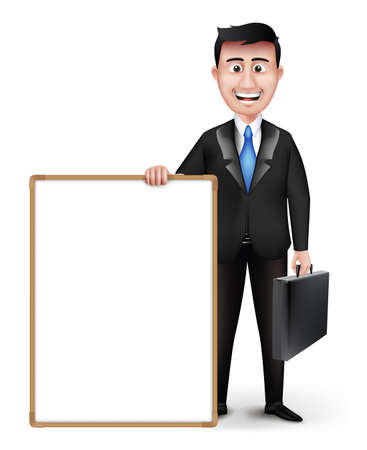 long sleeve: Realistic Smart Professional or Business Man Characters With Breifcase Holding Empty White Paper or Contract in Black Suit Long Sleeve and Necktie Isolated in White Background. Editable Vector Illustration