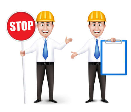 man holding a blank sign: Set of Realistic Engineers or Workers Characters With Yellow Safety Helmet Holding Empty White Board and Stop Sign in Long Sleeve and Necktie Isolated in White Background. Editable Vector Illustration