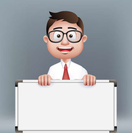 Realistic Smart Professor or Business Man Characters With Eyeglasses Holding Empty White Board in Long Sleeve and Necktie Isolated in White Background. Editable Vector Illustration
