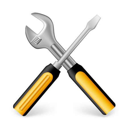 3d dimensional: Realistic Metallic Maintenance Tools Icon with Yellow Handle Like 3D Dimensional Object for Construction. Editable Vector Illustration