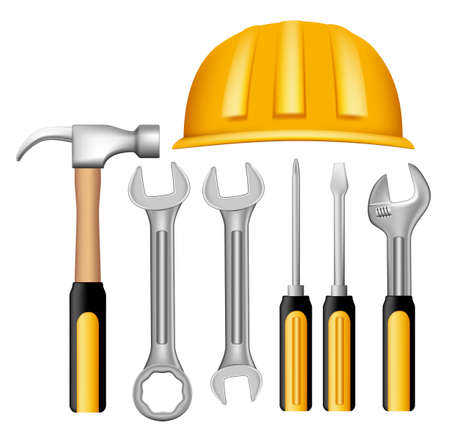 3d dimensional: Set of Realistic Metallic Maintenance Tools with Yellow Handle Like 3D Dimensional Object for Construction. Editable Vector Illustration Illustration