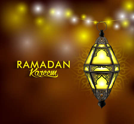 Beautiful Elegant Ramadan Kareem Lantern or Fanous Hanging With Colorful Lights in Night Background for the Holy Month Occasion of fasting. Editable Vector Illustration