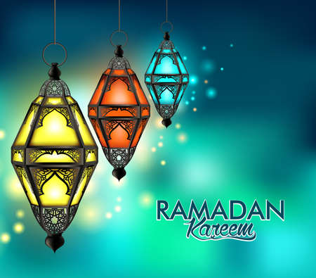 colorful lantern: Beautiful Elegant Ramadan Kareem Lantern or Fanous Hanging With Colorful Lights in Night Background for the Holy Month Occasion of fasting. Editable Vector Illustration