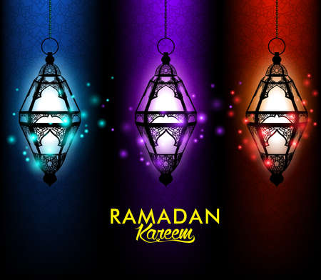 Beautiful Elegant Ramadan Kareem Lantern or Fanous Hanging With Colorful Lights in Night Background With Islamic or Arabic Pattern. Editable Vector Illustration Vector