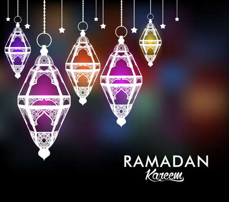 Beautiful Elegant Ramadan Kareem Lantern or Fanous Hanging With Colorful Lights in Night Background for the Holy Month Occasion of fasting. Editable Vector Illustration Vector