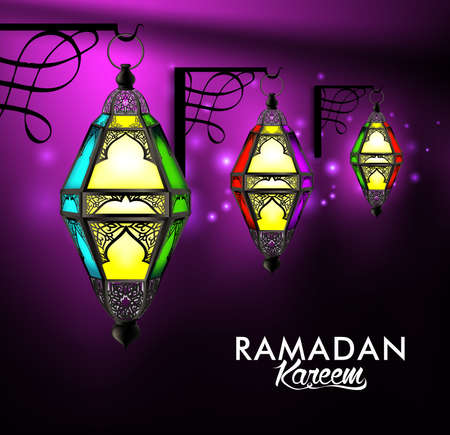 kareem: Beautiful Elegant Ramadan Kareem Lanterns or Fanous Hanging in Wall With Colorful Lights in Night Background for the Holy Month Occasion of fasting. Editable Vector Illustration Illustration