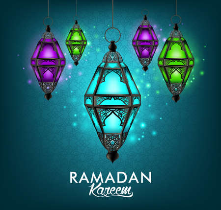 multicolor lantern: Beautiful Elegant Ramadan Kareem Lantern or Fanous Hanging With Colorful Lights in Night Background With Islamic or Arabic Pattern. Editable Vector Illustration Illustration