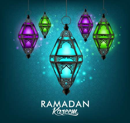 Mooie Elegante Ramadan Kareem lantaarn of Fanous Opknoping met kleurrijke verlichting in nacht achtergrond met islamitische of Arabische Patroon. Bewerkbare vectorillustratie