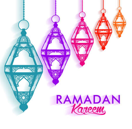 ramadan: Colorful Elegant Ramadan Kareem Lanterns or Fanous Hanging in White Background with Shadow for the Holy Month Occasion of fasting. Editable Vector Illustration Illustration