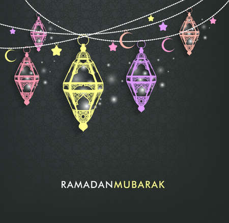 kareem: Beautiful Elegant Ramadan Mubarak Lanterns or Fanous Hanging With Colorful Lights in Islamic Pattern Background for the Holy Month Occasion of fasting. Editable Vector Illustration