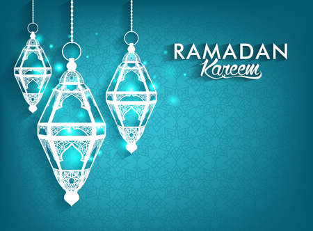 Beautiful Elegant Ramadan Kareem Lanterns or Fanous Hanging With Colorful Lights in Islamic Pattern Background for the Holy Month Occasion of fasting. Editable Vector Illustration
