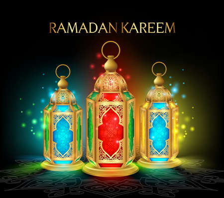 vector lamp: Beautiful Elegant Ramadan Kareem Lantern or Fanous in Gold With Colorful Lights in Night Background for the Holy Month Occasion of fasting. Editable Vector Illustration Illustration