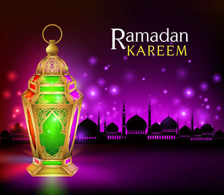 holy: Beautiful Elegant Ramadan Kareem Lantern or Fanous in Gold With Colorful Lights in Silhouette Mosque Background for the Holy Month Occasion of fasting. Editable Vector Illustration