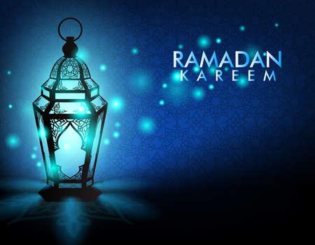 Mooie Elegante Ramadan Kareem lantaarn of Fanous Met Lichten in de nacht in de achtergrond Islamitische patroon voor de heilige maand gelegenheid van het vasten. Bewerkbare vector illustratie Stock Illustratie