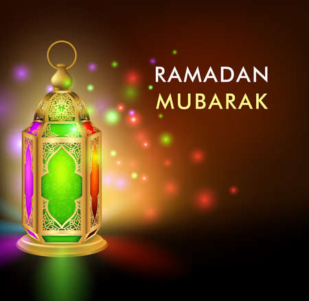 3d dimensional: Realistic 3D Dimensional Elegant Ramadan Kareem Lantern or Fanous With Colorful Lights in Night Background for the Holy Month Occasion of fasting. Editable Vector Illustration Illustration