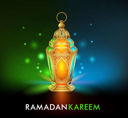 Realistic 3D Dimensional Elegant Ramadan Kareem Lantern or Fanous With Colorful Lights in Night Background for the Holy Month Occasion of fasting. Editable Vector Illustration Illustration