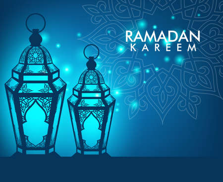 holy  symbol: Hermosa Ramadán Kareem elegante linterna o Fanous con el patrón y Luces en la Noche de fondo para la ocasión mes sagrado de ayuno. Ilustración vectorial editable