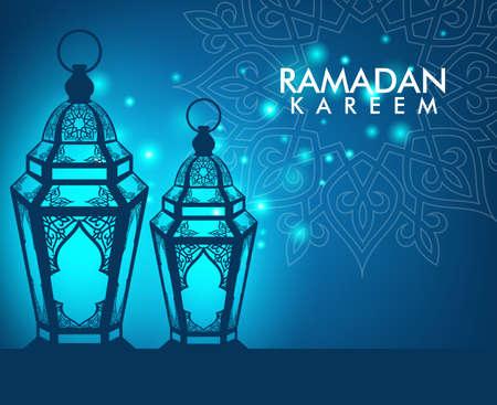 nacht: Schöne elegante Ramadan Kareem Lantern oder Fanous mit Muster und Lichter im Hintergrund Nacht für den heiligen Monat Anlass des Fastens. Editierbare Vektor-Illustration Illustration