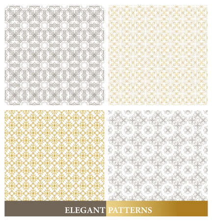 continued: Set of Elegant European or Arabic Seamless Patterns in Gold Color in Classic Style Elements for Decoration or Background. Vector Illustration.