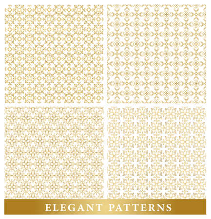 continued: Set of Elegant Islamic or Arabic Seamless Patterns in Gold Color in Classic Style Elements for Decoration or Background. Vector Illustration. Illustration
