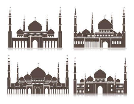 masjid: Set of Mosque or Masjid Elements Isolated for Islamic Celebrations Ramadan Kareem and Eid Mubarak Background. Editable Vector Illustration.
