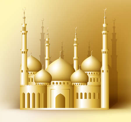 masjid: 3d Realistic Golden Detailed Mosque or Masjid Reflected for Islam and Ramadan Celebrations Background. Editable Vector Illustration.