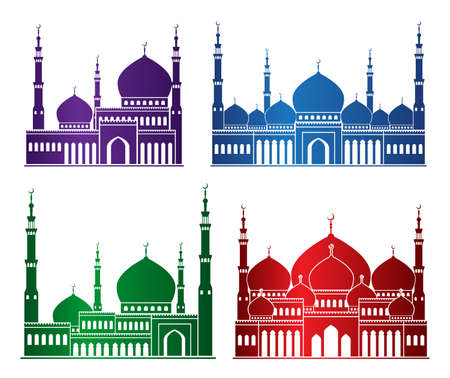 masjid: Set of Colorful Mosque or Masjid Elements Isolated for Islamic Celebrations Ramadan Kareem and Eid Mubarak Background. Editable Vector Illustration.