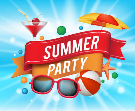 festa: Summer Party Poster com elementos coloridos e um texto em uma fita com fundo azul. Ilustração vetorial