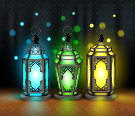 holy: Set of Elegant Ramadan Kareem Lantern or Fanous With Colorful Lights in Islamic Pattern Background for the Holy Month Occasion of fasting. Editable Vector Illustration
