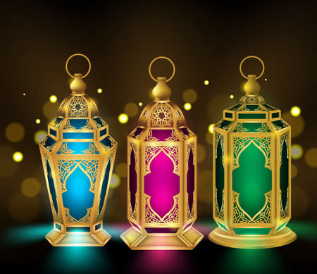 lantern festival: Set of Elegant Ramadan Kareem Lantern or Fanous in Gold With Colorful Lights in Blurred Golden Background for the Holy Month Occasion of fasting. Editable Vector Illustration Illustration