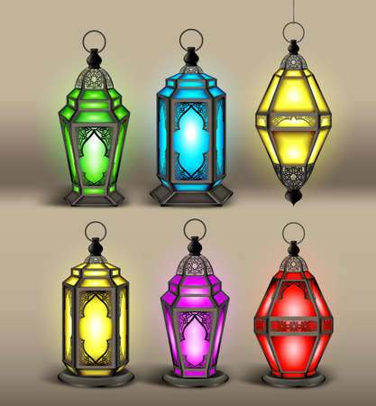 Set of Elegant Arabic or Islamic Lantern or Fanous With Colorful Lights for Decoration or Design Elements. Editable Vector Illustration Vector
