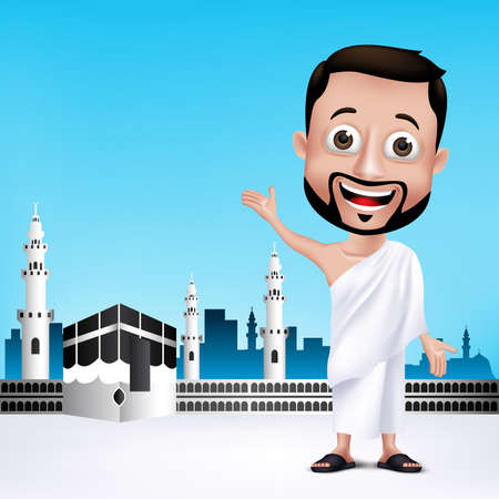 quran: Realistic Muslim Man Character Wearing Ihram Cloths for Performing Hajj or Umrah Pilgrimage in Kaaba in Makkah with Black Stone in Background. Editable Vector Illustration.