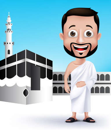Realistic Muslim Man Character Wearing Ihram Cloths for Performing Hajj or Umrah Pilgrimage in Kaaba in Makkah with Black Stone in Background. Editable Vector Illustration.