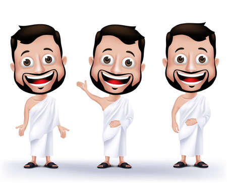 hajj: Set of Realistic Muslim Man Characters Wearing Ihram Cloths for Performing Hajj or Umrah Pilgrimage in Makkah isolated in White Background. Editable Vector Illustration.