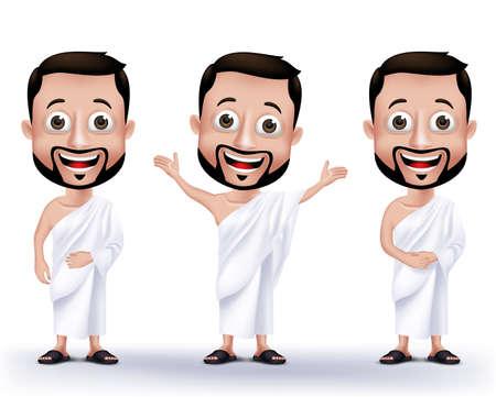 Conjunto de realistas musulmanes Caracteres hombre que llevaba ihram Paños para realizar el Hajj o Umrah peregrinación en La Meca aislado en fondo blanco. Ilustración vectorial editable. Ilustración de vector