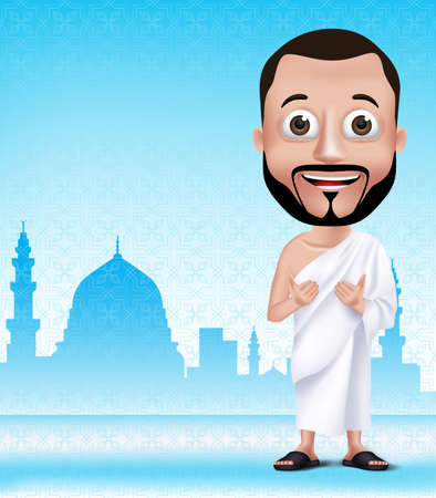 3D Realistic Muslim Man Character Praying Wearing Ihram Clothes Performong Hajj or Umrah with Madinah Silhouette Background.