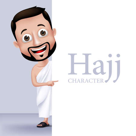 quran: 3D Realistic Muslim Man Character Wearing Ihram Clothes Performing Hajj or Umrah Holding White Space Background for Texts.