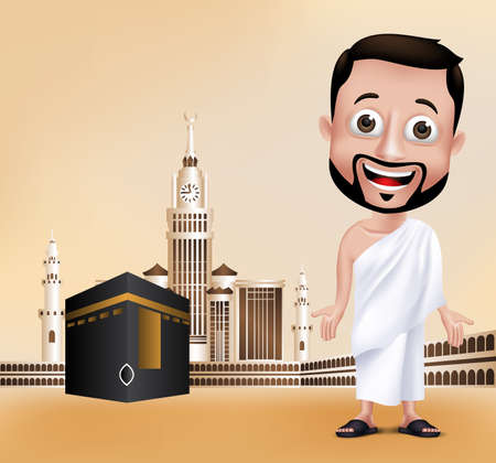 3D Realistic Muslim Man Character Wearing Ihram Clothes Performing Hajj or Umrah with Kaaba and Golden Clock Tower in Makkah Background. Editable Vector Illustration