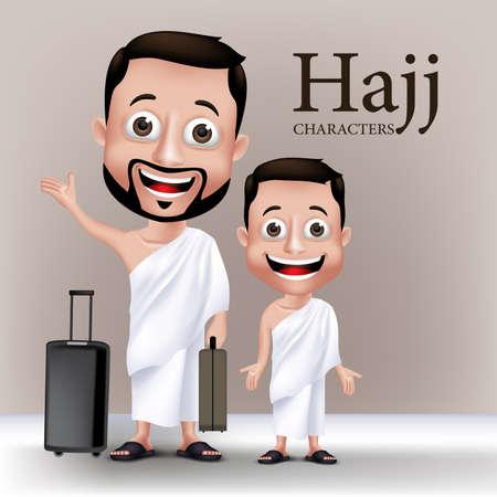 巡礼: 3 D のリアルなイスラム教徒の男性と子供の文字イフラーム着旅行バッグと Umrah メッカ巡礼を実行への旅します。