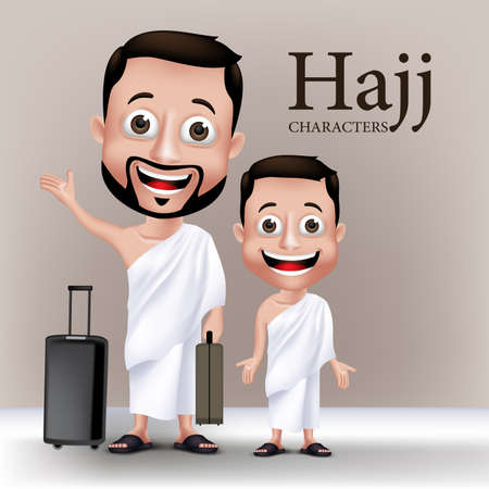 3D Realistic Muslim Man and Kid Characters Wearing Ihram Clothes Traveling to Perform Hajj or Umrah with Traveling Bags.
