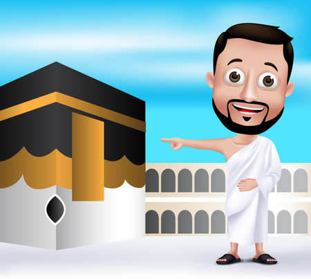 saudi arabia: 3D Realistic Muslim Man Character Wearing Ihram Clothes Performing Hajj or Umrah with Kaaba in Makkah Background.  Illustration