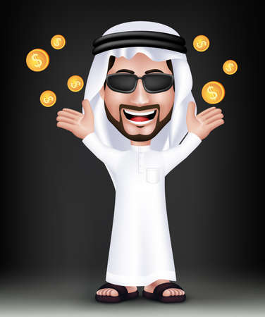 arab adult: Realistic Smiling Handsome Saudi Arab Man Character in 3D with Thobe Dress and Sunglasses Standing Showing Gold Dollars Money Like he Won. Editable Vector Illustration Illustration