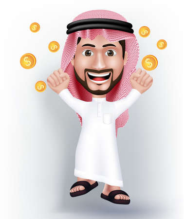Realistic Smiling Handsome Saudi Arab Man Character in 3D with Thobe Dress Jumping for Joy with Gold Dollars Money Like he Won. Editable Vector Illustration Vettoriali