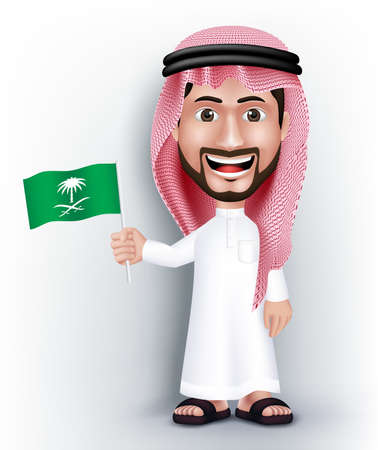 saudi: Realistic Smiling Handsome Saudi Arab Man Character in 3D Posing Gesture with Thobe Dress Holding Saudi Arabia National Flag for Independence Day. Editable Vector Illustration Illustration