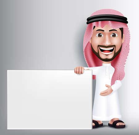 Realista Sonrisa hermosa Arabia Carácter Hombre árabe en 3D Posando Gesto con Thobe vestido Holding Blanca Junta en blanco para el texto o títulos. Ilustración vectorial editable